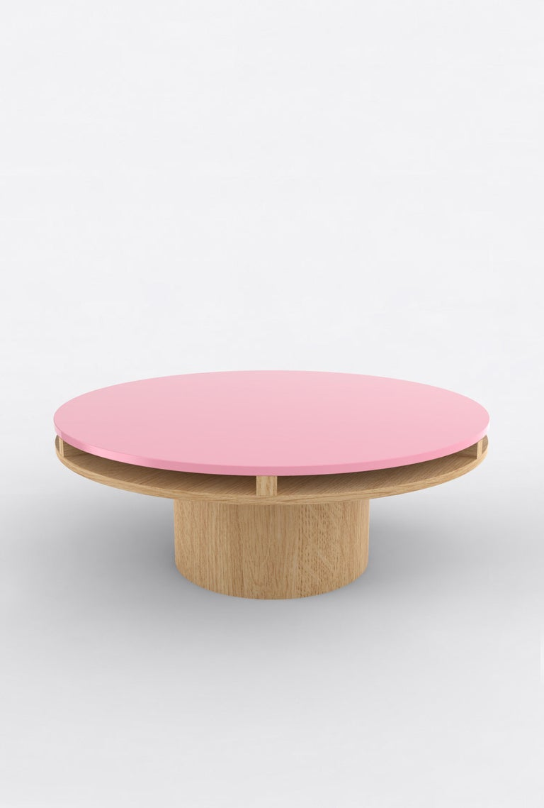 """Orphan work 102 coffee table, 2019 Shown in oak and white and off-white Available in natural oak with painted top. Colors available: Pink, mint, yellow, blue and brown. Measures: 42"""" diameter x 16"""" height Dimensions available: 42"""