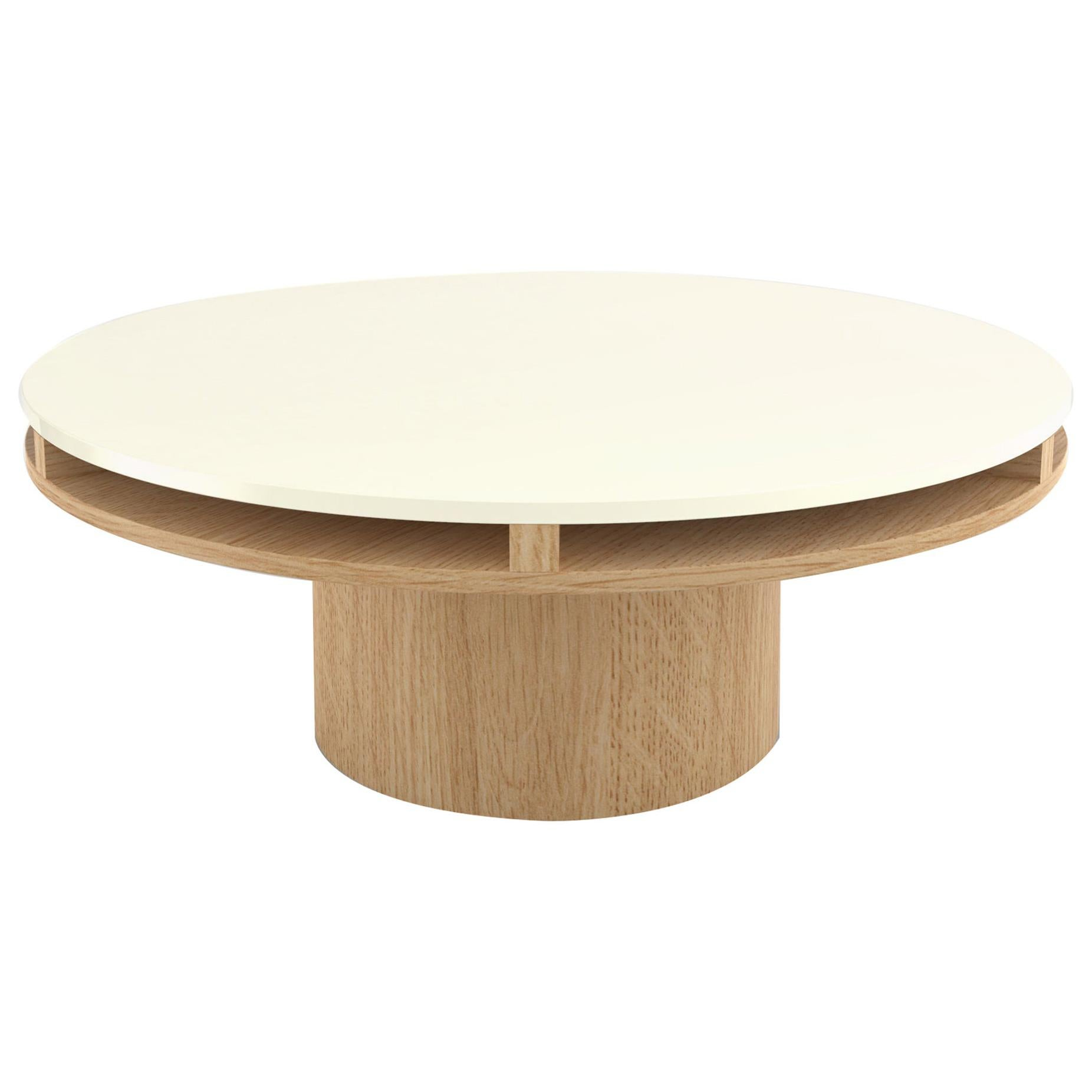 Contemporary 102 Coffee Table in Oak and White by Orphan Work