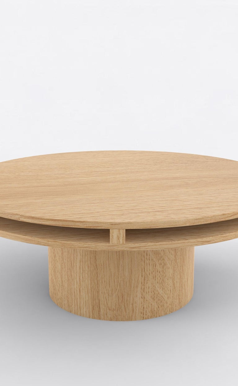 """Orphan work 102 coffee table, 2019 Shown in oak. Available in natural oak. Measures: 42"""" diameter x 16"""" height  Additional dimensions, materials or finishes available upon request. Prices may vary depending.  Orphan Work is a new identity"""