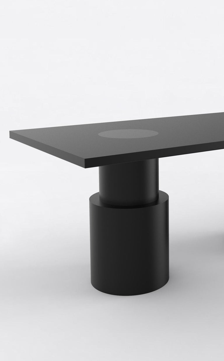"""Orphan Work 102 dining table BLK, 2019 Shown in black. Available with painted base and top. Measures: 72"""" L X 36"""" W X 30"""" H Dimensions available: 72"""" L x 36"""" W x 30"""" H 84"""" L x 36"""" W x 30"""" H 96"""" L x 36"""" W x 30"""" H 108"""" L x 42"""" W x 30"""" H 120"""""""