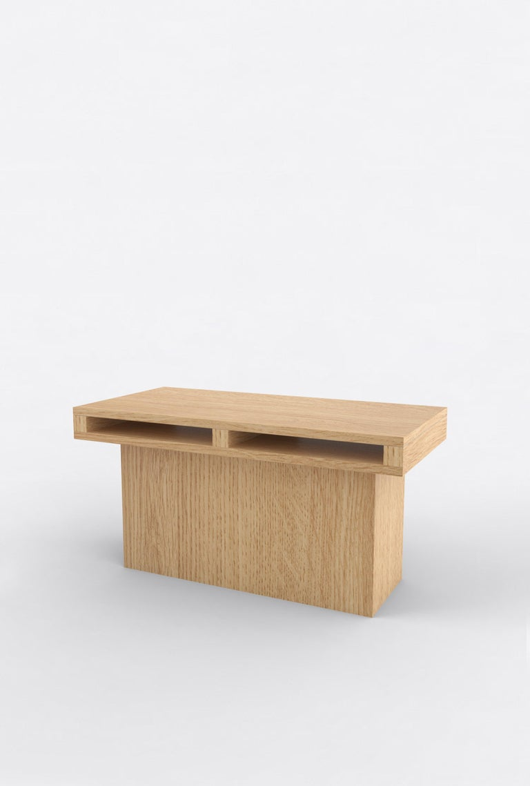 """Orphan Work 102 end table, 2019 Shown in oak. Available in natural oak. Measures: 31"""" L x 15"""" D x 15"""" H  Additional dimensions, materials or finishes available upon request.  Prices may vary depending.   Orphan Work is a new identity for"""