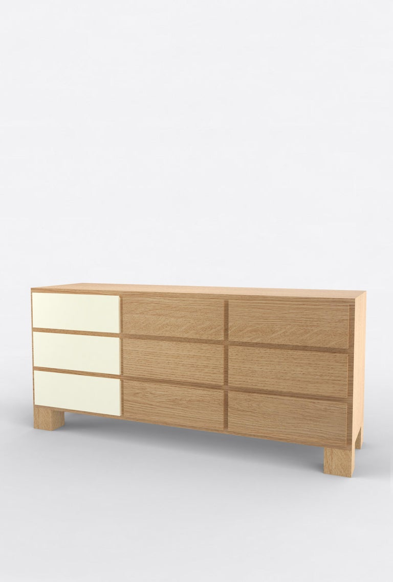 """Orphan Work 102 Storage, 2020 Shown in oak with white and off-white Available in natural oak with painted drawers Measures: 72"""" L x 22"""" D x 33"""" H 9 drawers Dimensions available 60"""" L x 22"""" D x 33"""" H 66"""" L x 22"""" D x 33"""" H 72"""" L x 22"""" D x 33"""" H 84"""" L"""
