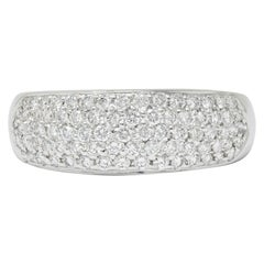 Contemporary 1.10 Carats Pave Diamond Platinum Band Ring