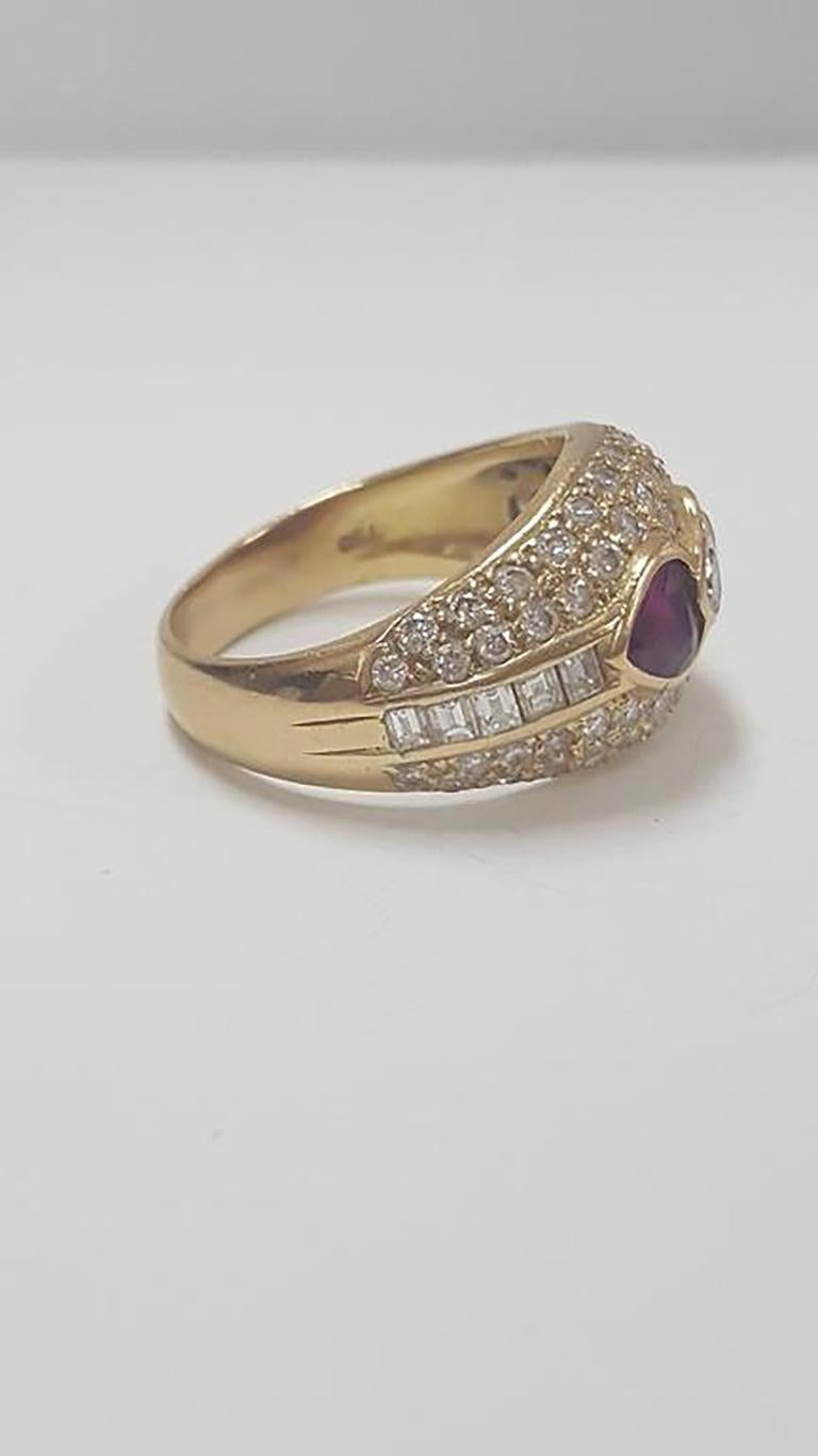Contemporary Stunning Diamond and Ruby Antique Ring Size 5 1/4