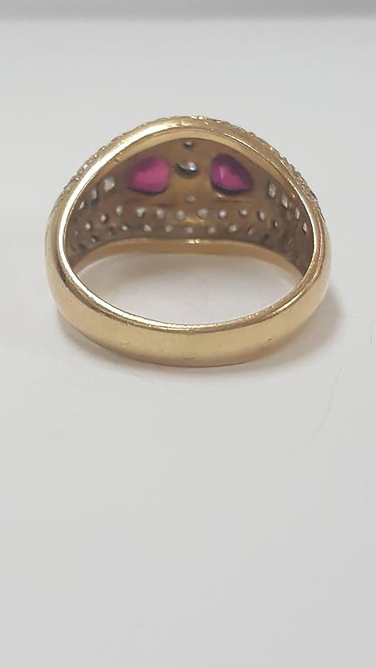 Stunning Diamond and Ruby Antique Ring Size 5 1/4
