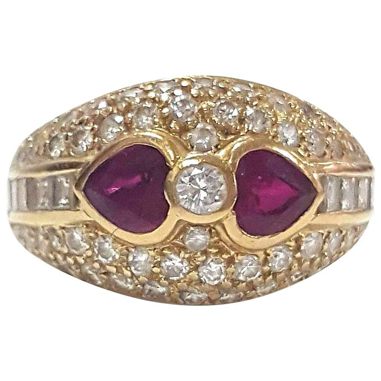 """Stunning Diamond and Ruby Antique Ring Size 5 1/4"""" For Sale"""