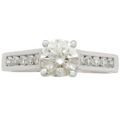 Contemporary 1.22 Carat Diamond and Platinum Solitaire Ring