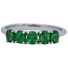 Contemporary 1.25 Carat Tsavorite Garnet 14 Karat White Gold Ring
