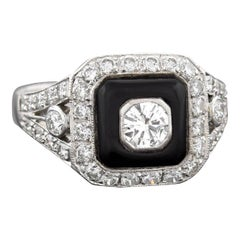 Contemporary 1.30 Total Carat Diamond and Onyx Ring