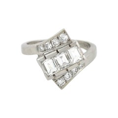 Contemporary 1.30 Total Carat Diamond Bypass Ring