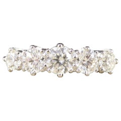 Contemporary 1.30ct Diamond Five-Stone Ring with Diamond Shoulders in Platinum