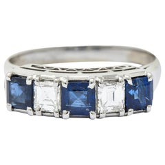 Contemporary 1.31 Carat Sapphire Diamond Platinum Five-Stone Band Ring