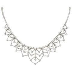 Contemporary 13.89 Carat Diamond 18 Karat White Gold Tiered Drop Necklace