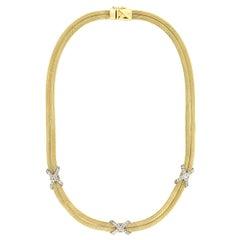 Contemporary 14 Karat Gold Diamond Two-Strand Mesh Chain Necklace