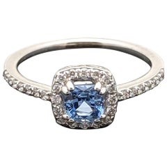 Contemporary 14 Karat White Gold Blue Sapphire and Diamond Ring