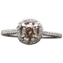 Contemporary 14 Karat White Gold Champagne Diamond Ring