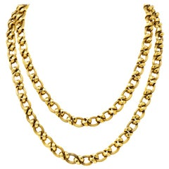 Contemporary 14 Karat Yellow Gold Twisted Link Long Chain Necklace