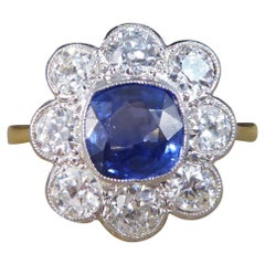 Contemporary 1.40ct Sapphire and 1.35ct Diamond Cluster Ring in 18ct Gold