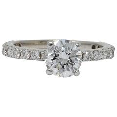 Contemporary 1.44 Carat Diamond 14 Karat White Gold Engagement Ring GIA