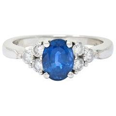 Contemporary 1.51 Carat Sapphire Diamond Platinum Engagement Ring