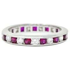 Contemporary 1.56 Carat Ruby Diamond Platinum Eternity Channel Band Ring