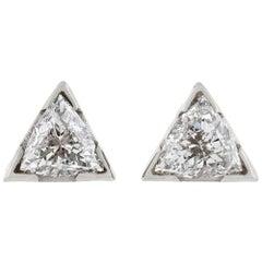 Contemporary 1.60 Total Carat Weight Trillion Cut Diamond Stud Earrings