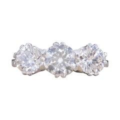 Contemporary 1.62ct Total Diamond Three Stone Ring in Platinum