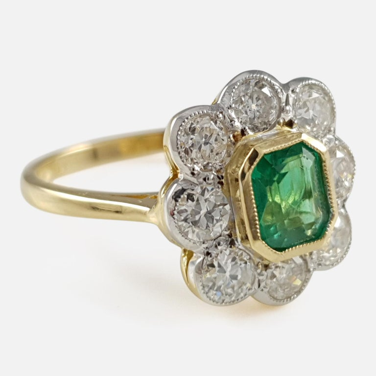 31749602ea86c Contemporary 18 Karat Gold 0.67cts Emerald & 1.44cts Diamond Cluster Ring