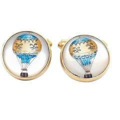 Contemporary 18 Karat Gold Hot Air Balloon Cufflinks with British Hallmarks