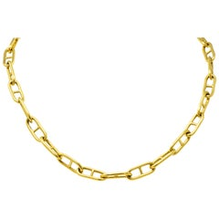 Contemporary 18 Karat Gold Oval Link Chain Necklace