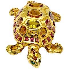 Contemporary 18 Karat Gold Turtle Tortoise Reptile Tourmaline Brooch Pendant