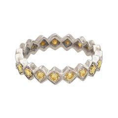 Contemporary 18 Karat White Gold Yellow Diamonds Cubes Design Ring