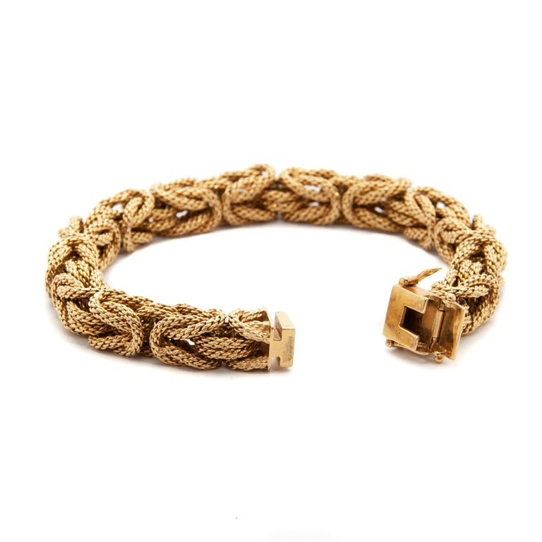 Contemporary 18 Karat Yellow Gold Braided Byzantine Kings Rope Link Bracelet In Good Condition For Sale In Rotterdam, NL