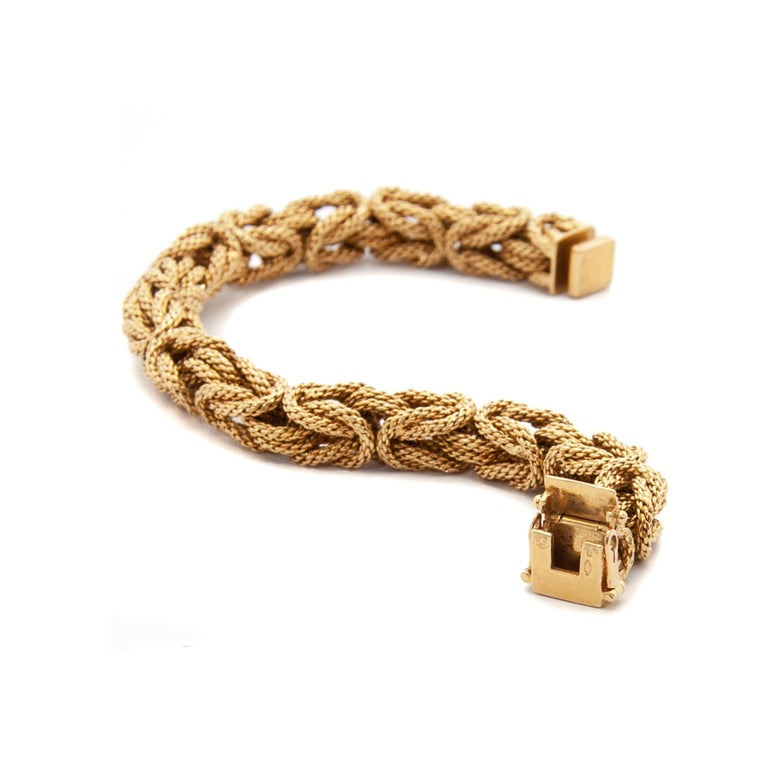 Women's Contemporary 18 Karat Yellow Gold Braided Byzantine Kings Rope Link Bracelet For Sale