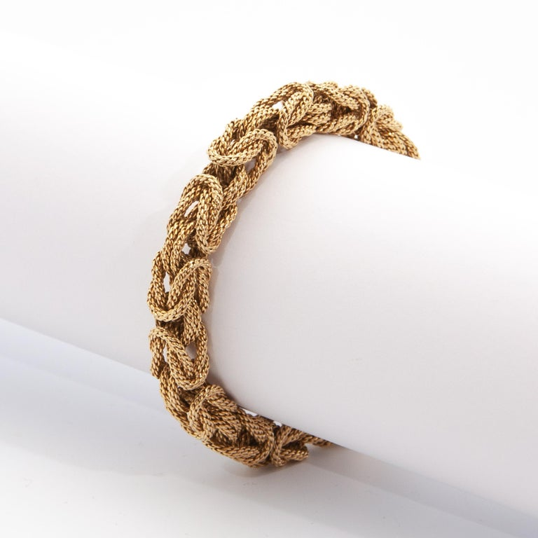Contemporary 18 Karat Yellow Gold Braided Byzantine Kings Rope Link Bracelet For Sale 1