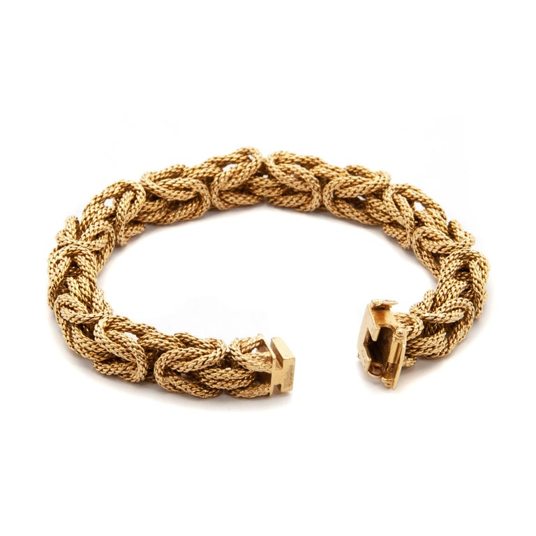 Contemporary 18 Karat Yellow Gold Braided Byzantine Kings Rope Link Bracelet For Sale 2