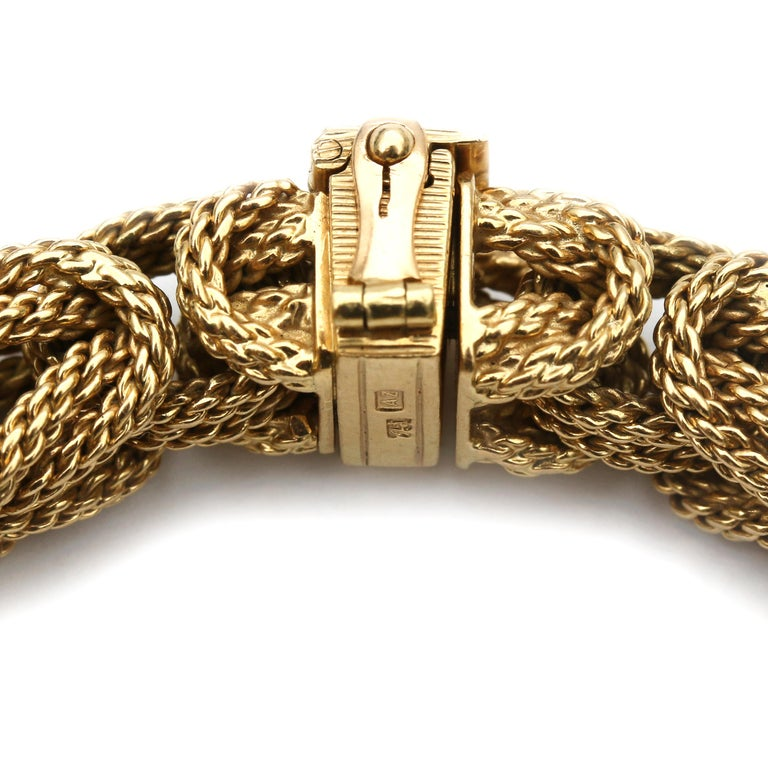 Contemporary 18 Karat Yellow Gold Braided Byzantine Kings Rope Link Bracelet For Sale 4