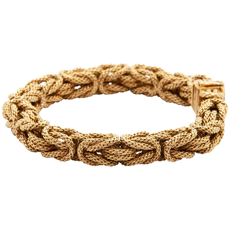 Contemporary 18 Karat Yellow Gold Braided Byzantine Kings Rope Link Bracelet For Sale