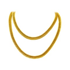 Contemporary 18 Karat Yellow Gold Long Woven Chain Necklace
