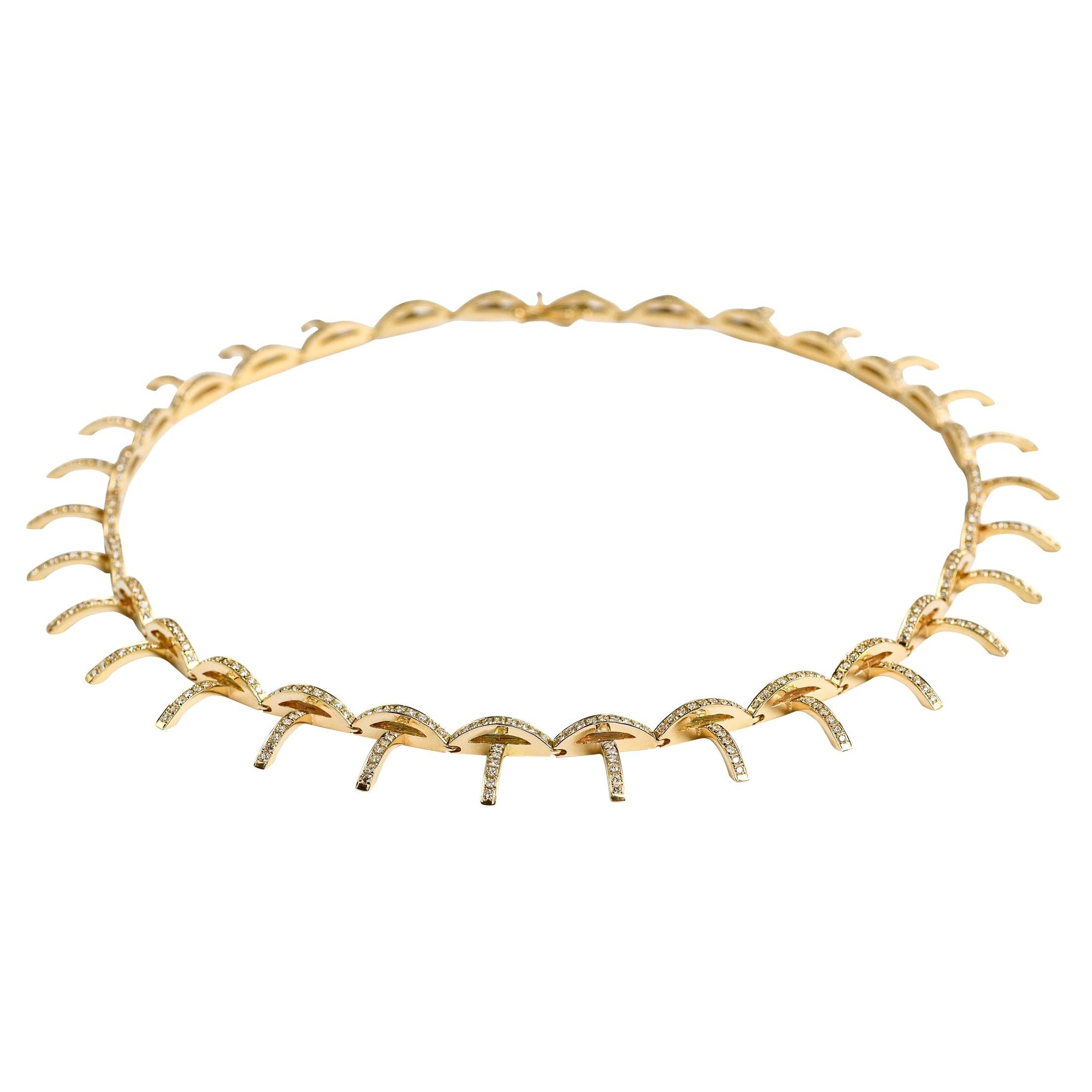 Contemporary 18K Gold and White Diamond Articulated Necklace, Diamond Necklace