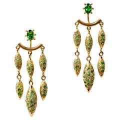 Contemporary 18K Gold & Green Tsavorite Garnet Chandelier Earrings /Ear Jackets