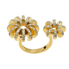 Contemporary 18K Yellow Gold and White Diamond Flower in Between Fingers Ring