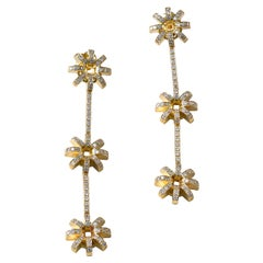 Contemporary 18K Yellow Gold and White Diamond Long Flower Drop Earrings