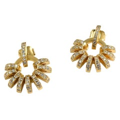 Contemporary 18K Yellow Gold and White Diamond Sculptural Ear Jackets and Studs
