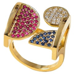 Contemporary 18K Yellow Gold Diamond Ruby & Blue Sapphire Square Cocktail Ring