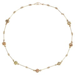 Contemporary 18K Yellow Gold, Sphere Chain Necklace with Multicoloured Gemstones