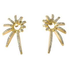 Contemporary 18K Yellow Gold & White Diamond Earrings, Diamond Nautili Earrings