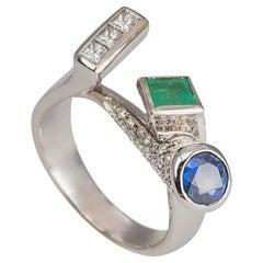 Contemporary 18Karat White Gold 1.12Karat Diamond Sapphire Emerald Cocktail Ring