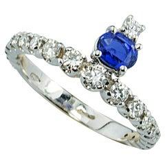 Contemporary 18Karat WhiteGold 1.20 Sapphires 0.50 White Diamond Engagement Ring