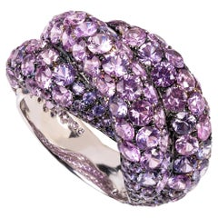 Contemporary 19.2 Karat White Gold, Round Cut Pink Sapphire Ring
